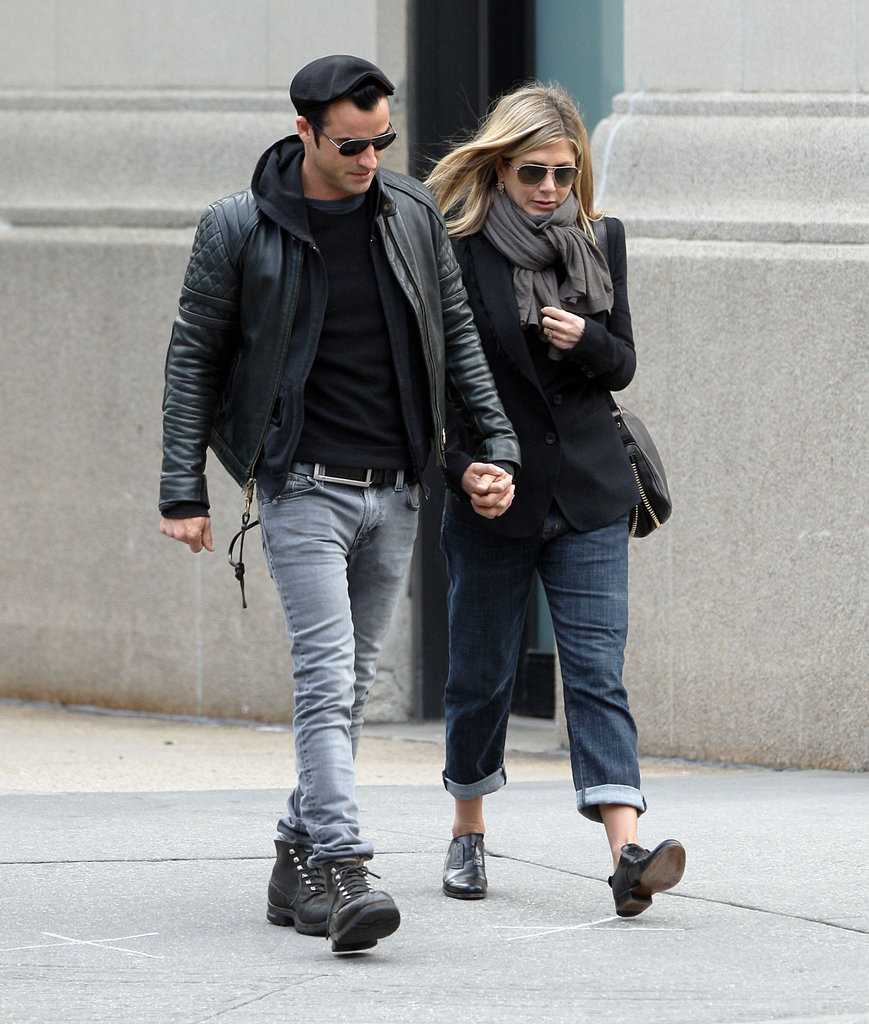 Jennifer and Justin layered up for a loved-up walk through NYC in September 2011.