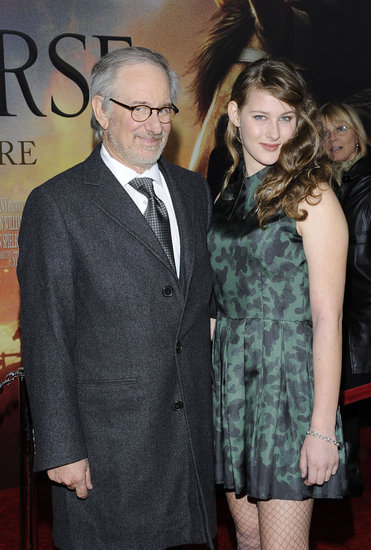 Steven Spielberg and Destry Allen Spielberg walked into the premiere of his new film, War Horse.