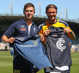 David Beckham showed off his jersey in Australia.