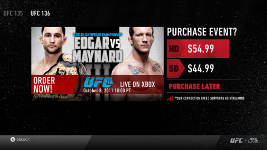 Pay-per-view style media options like UFC wrestling will come to Xbox Live in late December 2011.