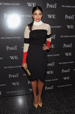 Rachel Roy mixed a colorblocked turtleneck and a sleek black cocktail dress at the Cinema Society and Piaget screening of W.E.