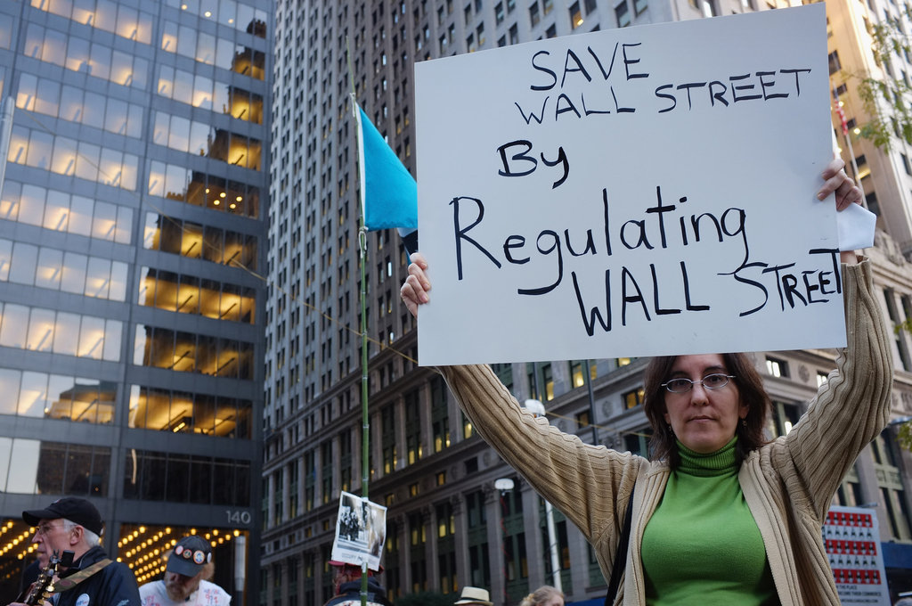 A woman held a sign in New York City.