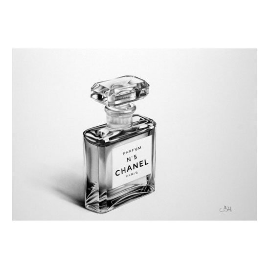 Chanel's iconic fragrance is captured in a pencil-drawing print by English artist Ileana Hunter.