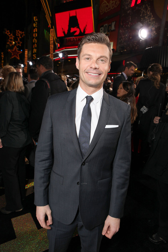 Ryan Seacrest accessorized his look with a white pocket square.
