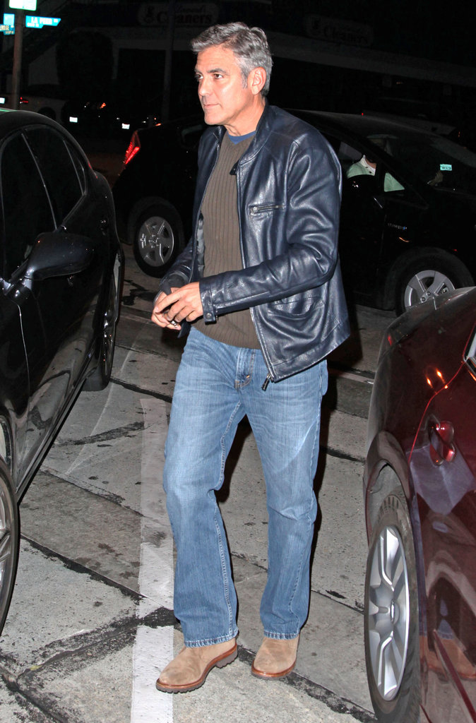 George Clooney went cool and casual for a dinner date.