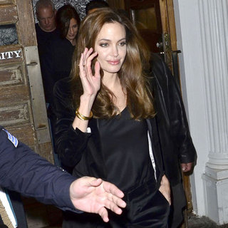 Angelina Jolie Pictures in All Black Out in NYC