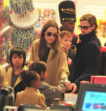Angelina Jolie and Brad Pitt brought their children to FAO Schwarz in NYC.