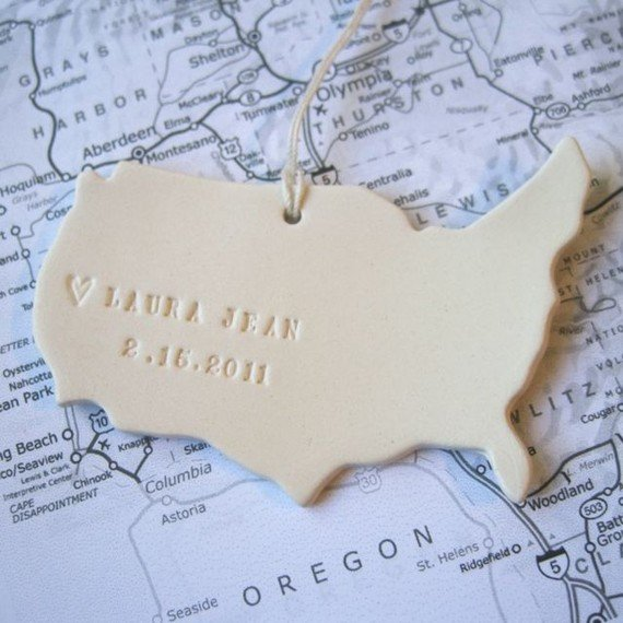 Custom Map Ornament ($38)