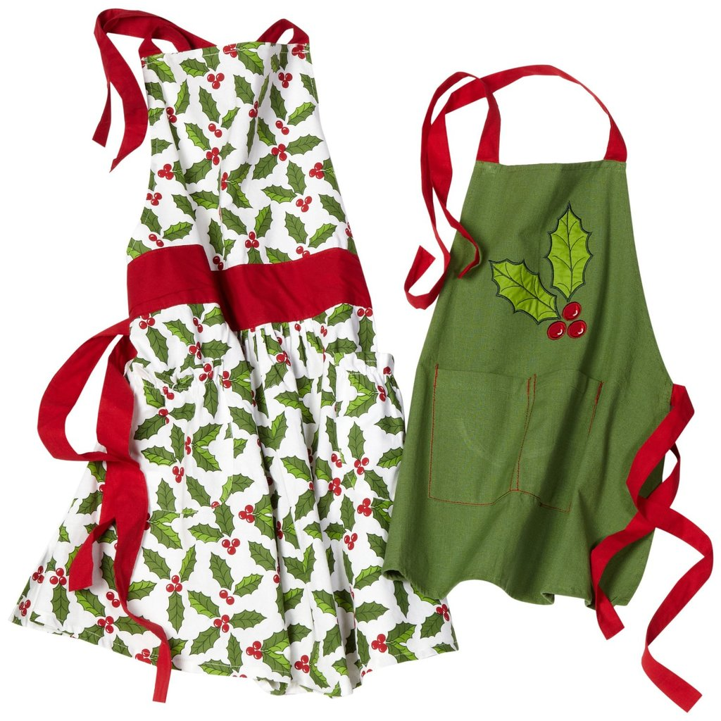 Adults and Kids Holly-Printed Aprons ($32)