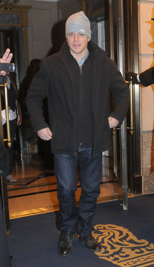 Matt Damon was spotted leaving the Ritz Carlton in NYC.