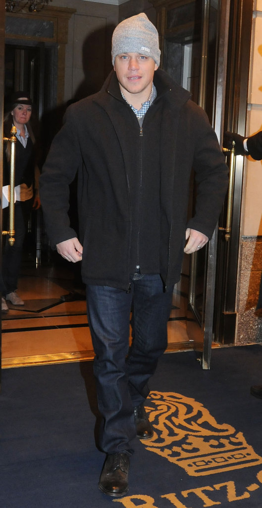 Matt Damon left the Ritz in NYC on Saturday.