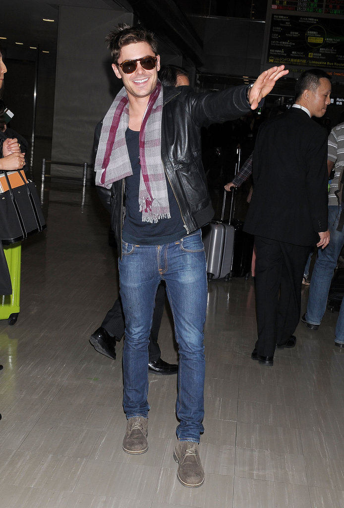 Zac Efron touched down in Japan early Tuesday morning.