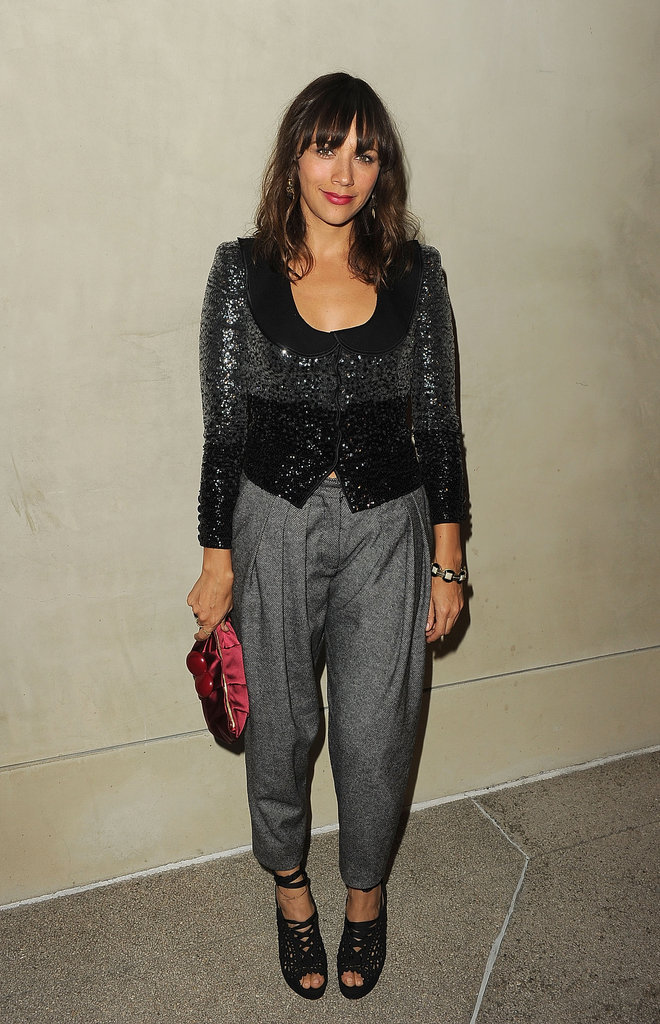 Rashida Jones capitalizes on the shimmer effect with a subtly sparkly little jacket.