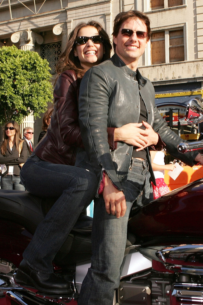 Katie Holmes and Tom Cruise arrived by motorcycle to the premiere of War of the Worlds in June 2005.
