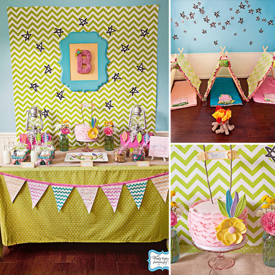 A Girlie Camping-Themed Birthday Party