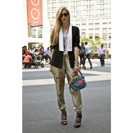 At New York Fashion Week in September 2011, Joanna Hillman added a graphic blazer and a bright Proenza Schouler bag to sequined J.Crew sweatpants.  Shop the look:  Photo: Phil Oh