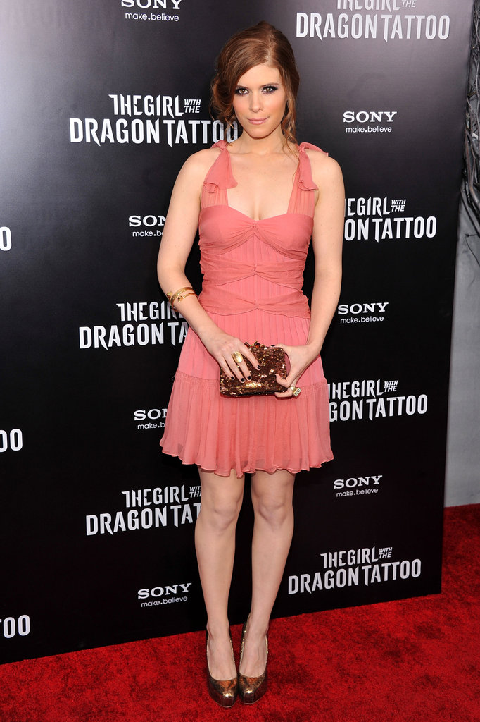 Kate Mara showed off her pretty coral Christian Dior dress.