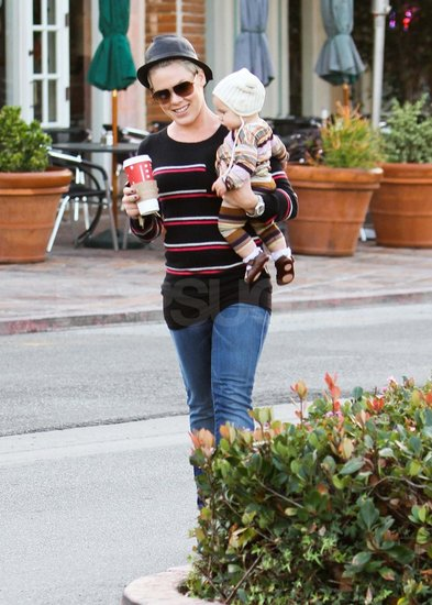 Pink and Willow at Starbucks in Malibu.
