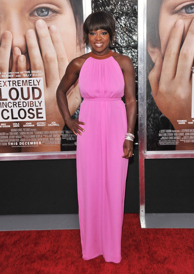 Viola Davis glowed in a pink Raoul column gown.