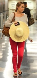 Lauren Conrad in Colored Joe's Jeans With Tan Chloe Bag