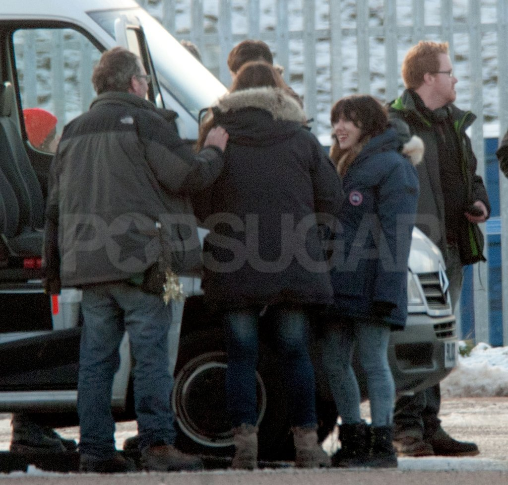Scarlett Johansson joked around with the film crew in Glasgow.
