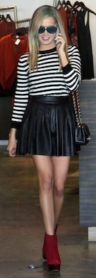 Ashley Tisdale in Leather Alice and Olivia Skirt With Quilted Chanel Purse