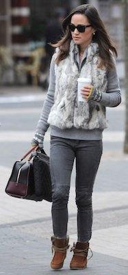 Pippa Middleton in Faux Fur Vest With Two-Tone Loewe Handbag