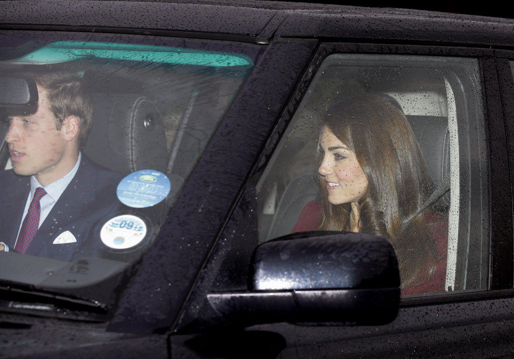 Kate Middleton and Prince William headed to Buckingham Palace for a preholiday meal.