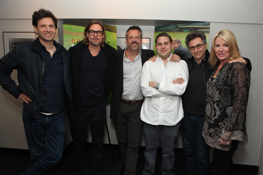 Bennett Miller, Brad Pitt, Wally Pfister, Jonah Hill, Christopher Tellefsen, and Deb Adair presented Moneyball in Culver City.