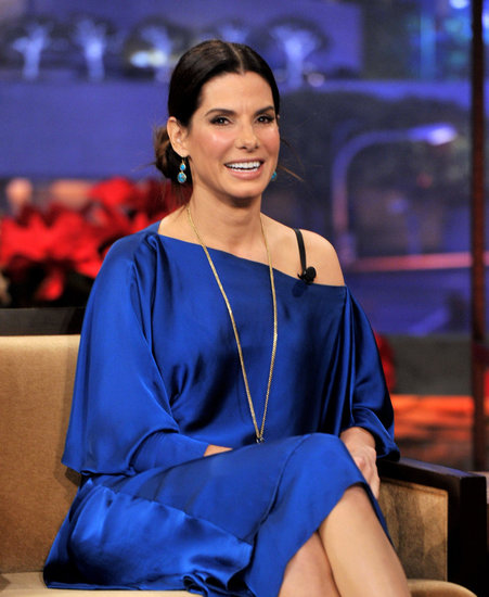 Sandra Bullock wore a blue silk dress on The Tonight Show With Jay Leno.