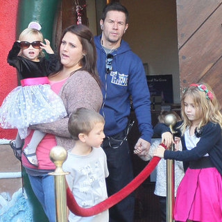 Mark Wahlberg and Kids Meeting Santa Family Pictures