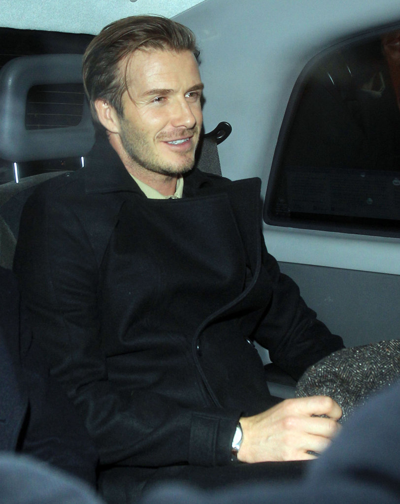 David Beckham was happy in the company of friends.