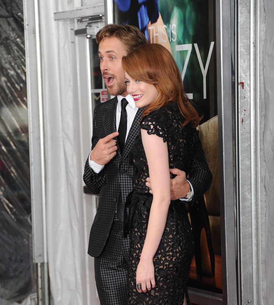 Ryan points to his Crazy, Stupid, Love costar Emma Stone at the film's NYC premiere.
