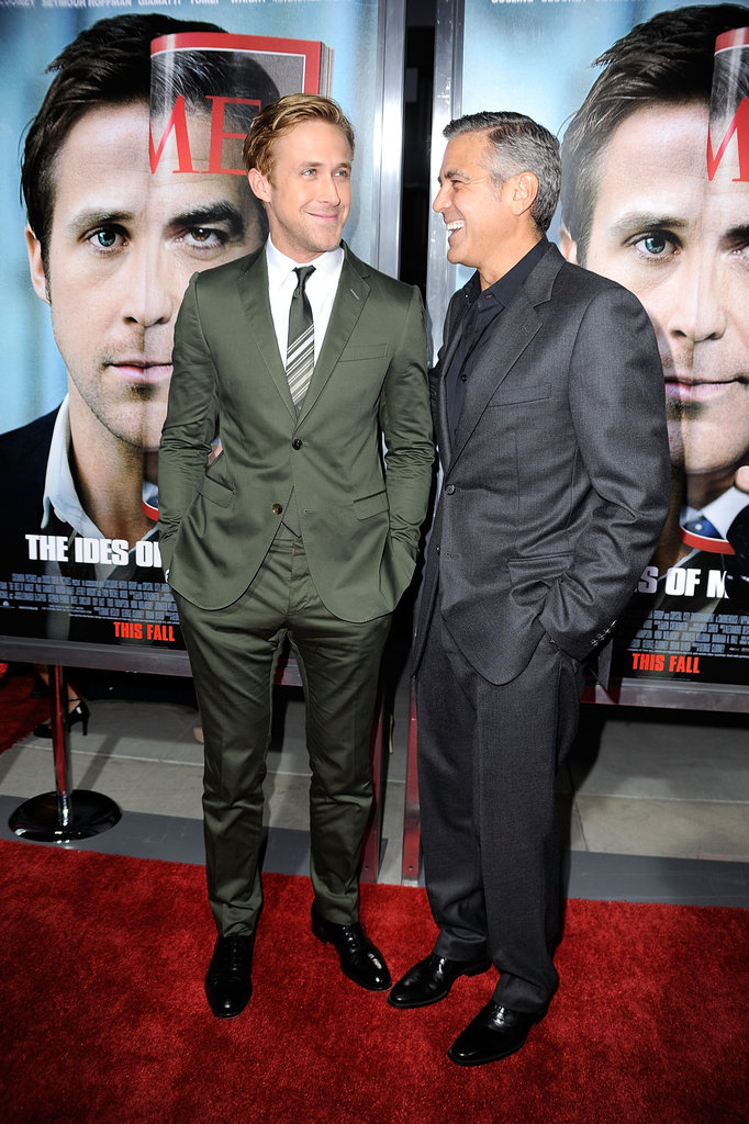 Ryan Gosling and George Clooney attend the premiere of The Ides of March.
