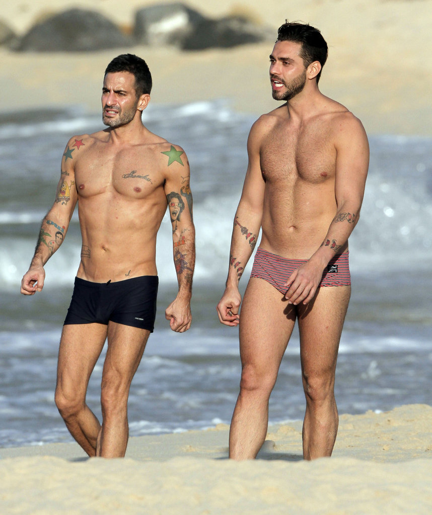 Marc Jacobs and Lorenzo Martone flaunted their perfect figures on a shirtless walk.