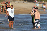 Shirtless Zach Braff and Donald Faison waded in Maui.