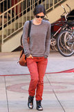 Rachel Bilson's red-leopard pair are the perfect counterpart to Winter basics.