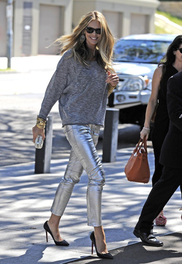 Elle Macpherson may just have the ultimate pair of statement pants in these slim-fit silver skinnies.
