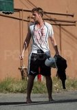 Ryan Gosling Steps Outside Barefoot and Sweaty Following a Manly Workout