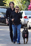 Ben Affleck and Jennifer Garner took their dog for a walk.