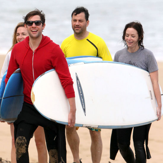 John Krasinski and Emily Blunt couldn't stop smiling in Hawaii with Jimmy Kimmel and Molly McNearney.