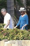 George Clooney strolled with Stacy Keibler.