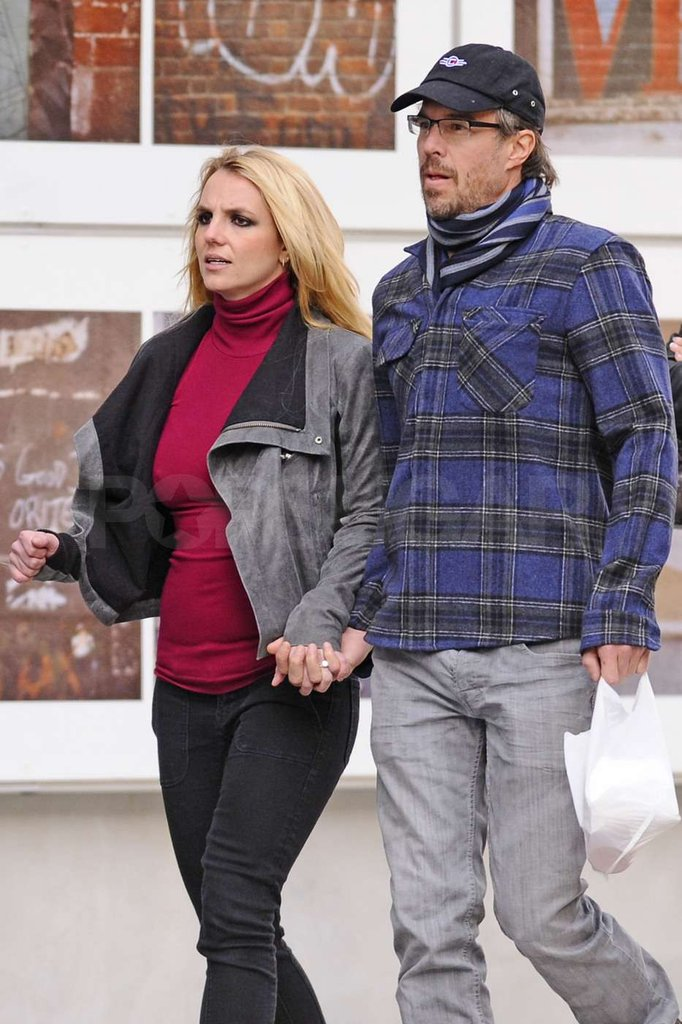Britney Spears's engagement ring was visible as she held hands with Jason Trawick.