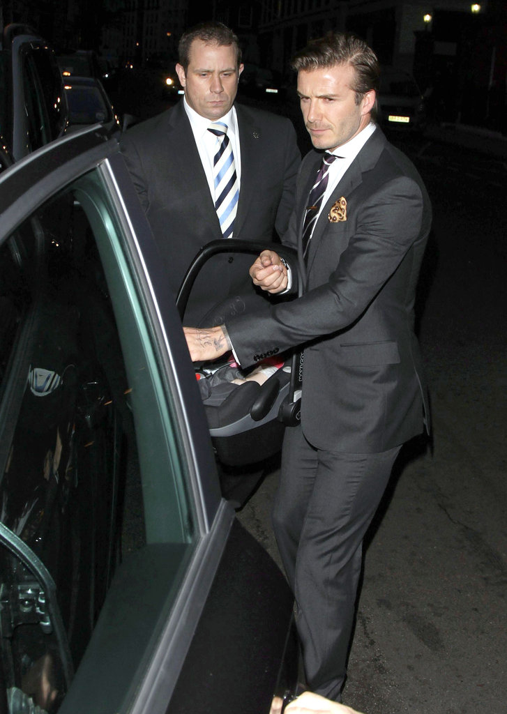 David Beckham wore a nice suit out in London.