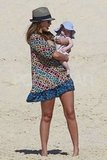 Jessica Alba took care of Haven on the beach.