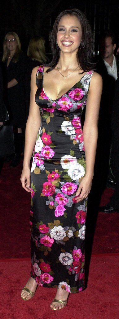 Jessica Alba showed up in a fitted floral dress in 2001.