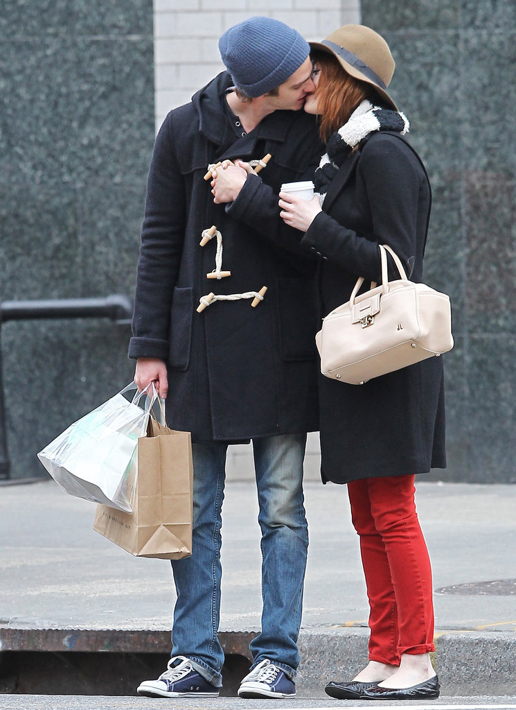 Emma Stone gave Andrew Garfield a kiss on the streets of NYC in January 2012.