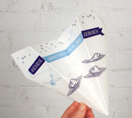 Paper Airplane Birth Announcement