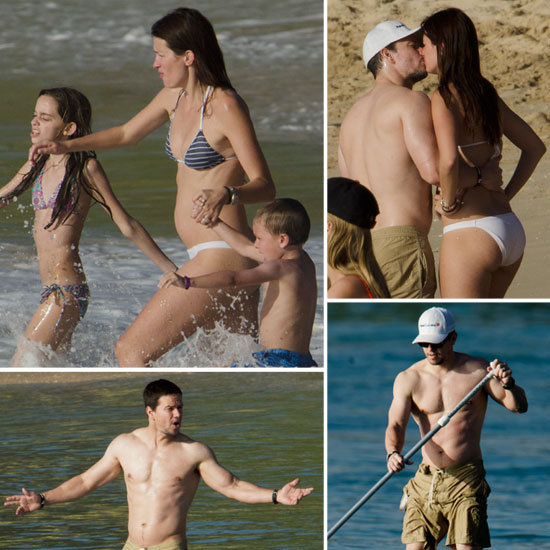 Shirtless Mark Wahlberg Kisses Bikini-Clad Rhea Durham During a Family Beach Day