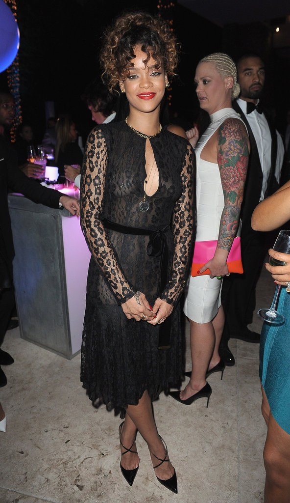 Rihanna chose a lacy Tom Ford dress and strappy black pointy pumps for Sean Combs's New Year's Eve bash.